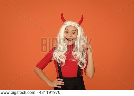 Inspired Teenage Child In Imp Horns. Cheerful Kid Has An Idea. Feel The Inspiration. Carnival Costum