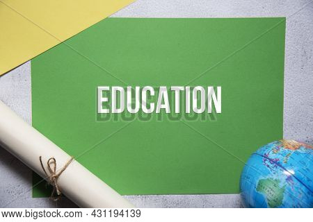 Education Text On Green And Yellow Background Flat Lay Concept. Suitable To Used As Title Cover Each