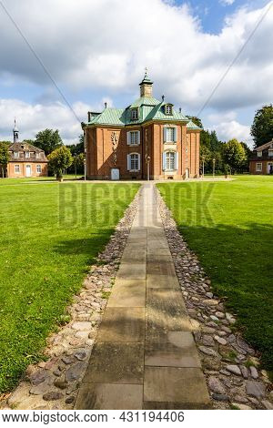 Sogel, Germany - August 25, 2021: Portrait Landscape With Main Building Of Castle Clemenswerth In So