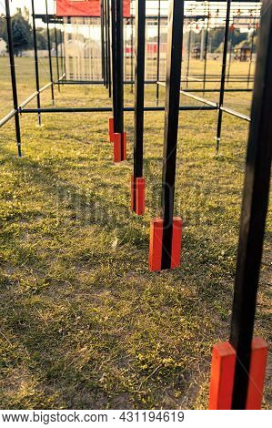 Obstacle Course Race Ocr, Hanging Pendulum In A Row, Sunset
