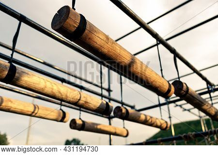 Obstacle Course Race Ocr, Horizontal Logs In A Row, Sunset