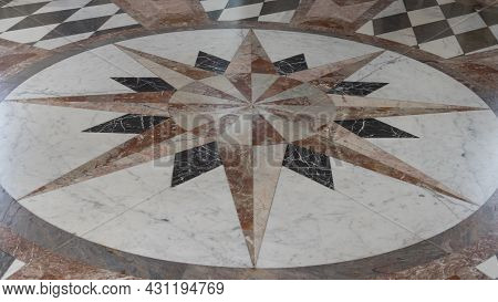 Sogel, Germany - August 25, 2021: Start Shaped Marble Floor In Main Building Of Castle Clemenswerth