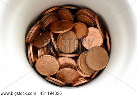 Euro Cent Coins In A Ceramic Jar.