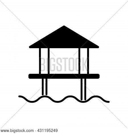 Water Bungalow Glyph Icon. Maldives Attraction. Coral Island. Tropical Resort. Black Filled Symbol.