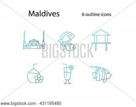 Maldives Outline Icons Set. Coconut Drink. King Salman Mosque. Exotic Resort. Bungalow And Fish. Cap