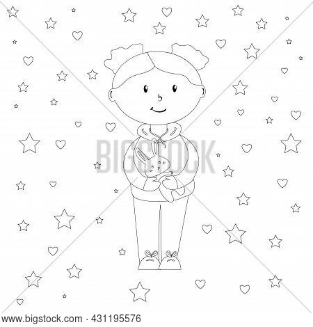 Doll With Bunny In A Cozy Room With A Winter Mood, Coloring Page For Children, Simple Flat Vector Il