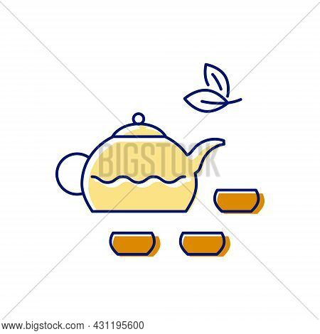 Taiwanese Tea Ceremony Flat Icon. Teapot With Cups. Chinese Cuisine. Oriental Custom. Asian Item. Co