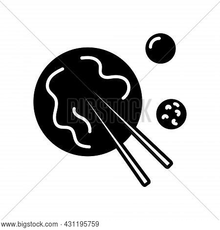 Taiwanese Niu Rou Mian Outline Icon. Taiwan. Chinese Beef Noodles With Food Sticks And Sauce. Asian
