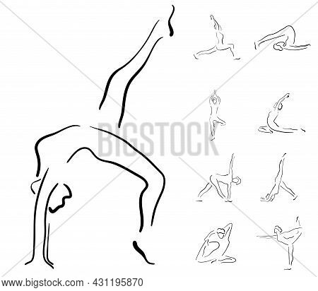 Young Woman Doing Yoga One Stroke Drawing Set, Standing Asana, Simple Flat Vector Illustration