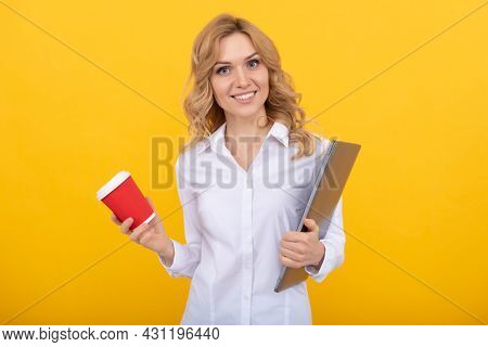 Tea Break Is Good For Productivity. It Professional Have Tea Break. Happy Woman Hold Paper Cup