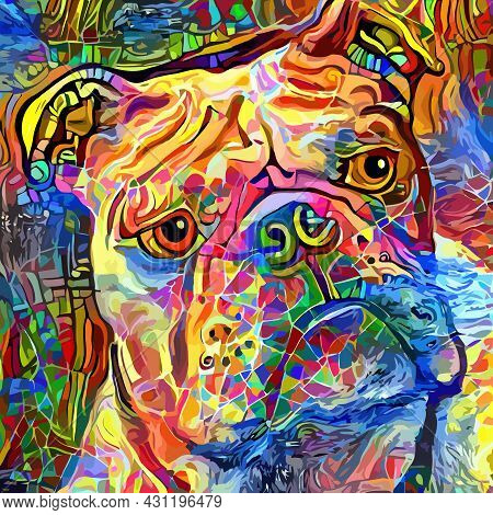 An Artistically Designed And Digitally Painted, Portrait Of A Bulldog.