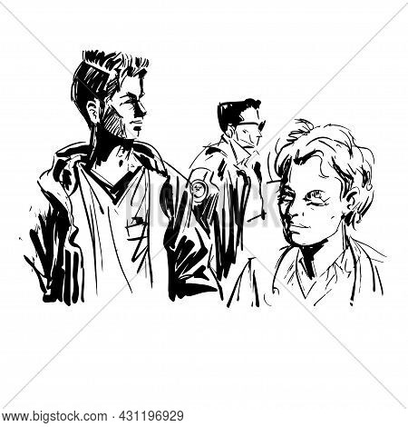 Group Of People Isolated On White Background. Ink Sketch Of Scene From Everyday Life. Man, Woman And