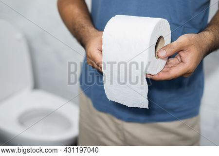 One Man Has Diarrhea He Then Went To The Bathroom To Take Numbers Two. In His Hand He Had Tissue Pap