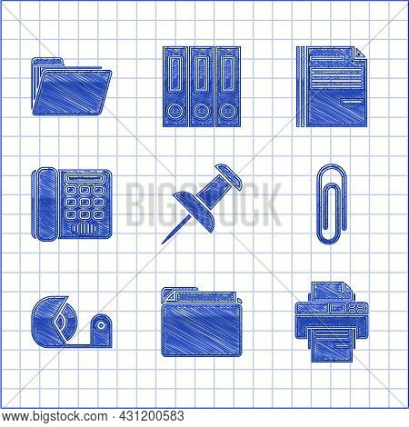 Set Push Pin, Document Folder, Printer, Paper Clip, Scotch, Telephone, File Document And Icon. Vecto
