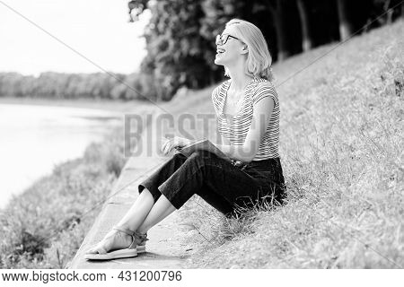 Reading Is My Hobby. Summer Study. Woman In Park Reading Book. Interesting Story. Relax And Get New