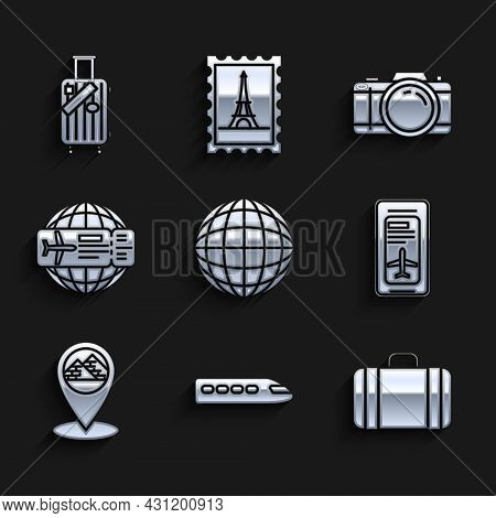 Set Earth Globe, Train, Suitcase For Travel, Smartphone With Electronic Boarding Pass Airline Ticket