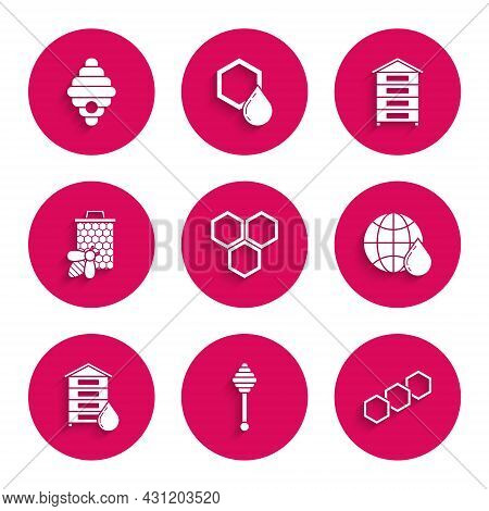 Set Honeycomb, Dipper Stick, Map Of The World, Hive For Bees, Bee And Honeycomb, And Icon. Vector