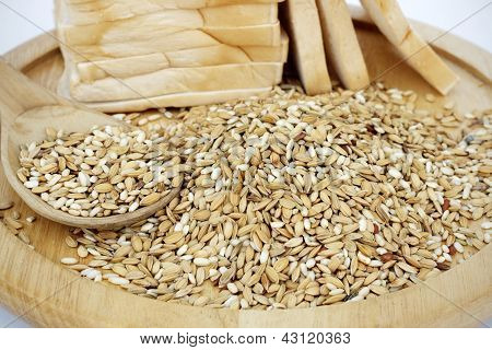 Raw rice and white bread