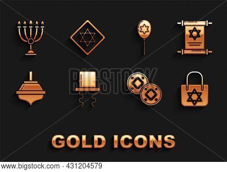 Set Orthodox Jewish Hat With Sidelocks, Torah Scroll, Shopping Bag Star Of David, Jewish Coin, Hanuk