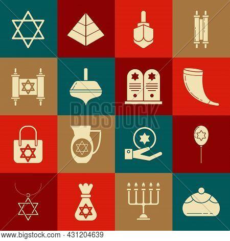 Set Jewish Sweet Bakery, Balloons With Ribbon With Star Of David, Traditional Ram Horn, Shofar, Hanu