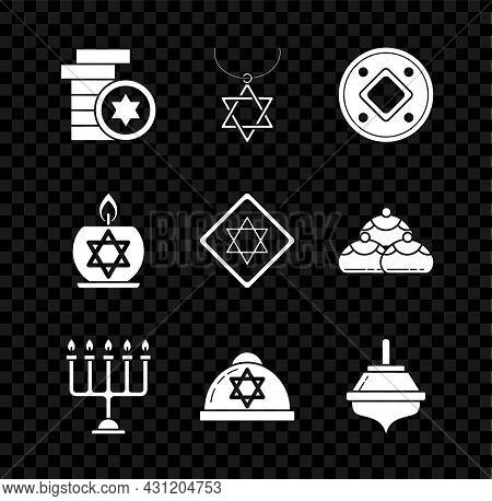 Set Jewish Coin, Star Of David Necklace On Chain, Hanukkah Menorah, Kippah With Star David, Dreidel,
