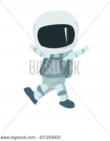 Child Astronaut In A Spacesuit. Kid. Childrens Illustration. Flat Style. Cartoon Design. Isolated On