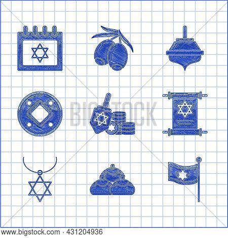Set Hanukkah Dreidel And Coin, Jewish Sweet Bakery, Flag Of Israel, Torah Scroll, Star David Necklac