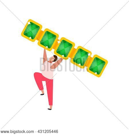 Flat Icon With Happy Character Holding Gold Jewelry Piece With Emeralds Vector Illustration