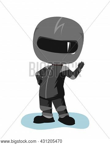 Motorcyclist In A Black Jacket And Helmet. Biker Uniform. Cartoon Style. He Waves His Hand. Funny Ch