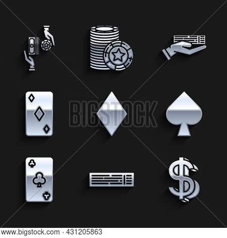 Set Playing Card With Diamonds Symbol, Deck Of Playing Cards, Dollar, Spades, Clubs, Hand Holding De
