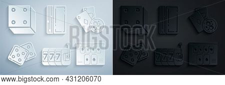 Set Slot Machine With Lucky Sevens Jackpot, Playing Cards And Glass Of Whiskey Ice Cubes, Game Dice,