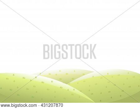 Rural Pasture Hills. Farm Cute Landscape. Funny Cartoon Design Illustration. Flat Style. Isolated On