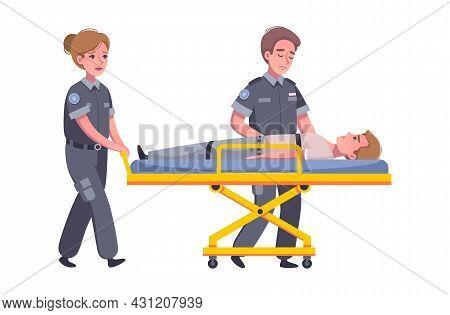 Sad Paramedics Carrying Injured Person On Stretcher Cartoon Vector Illustration