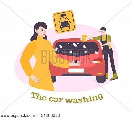 Car Washing Flat Composition With Female Car Owner And Worker Vector Illustration