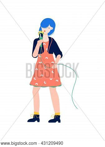 Pop Singer Performing On Stage With Microphone Flat Vector Illustration