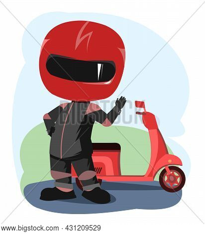Scooter Driver. Biker Cartoon. Child Illustration. He Waves His Hand. In A Sports Uniform And A Red