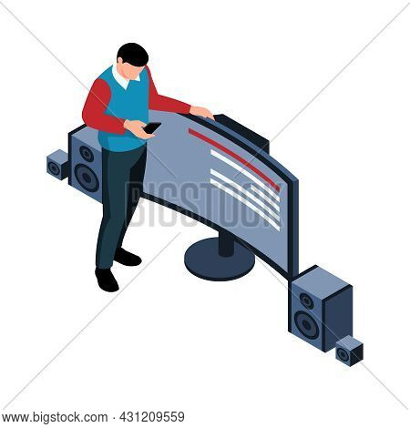 Isometric Icon With Home Theater And Character Holding Remote Control 3d Vector Illustration