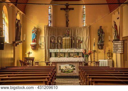 Oudeschild, Texel, The Netherlands. August 13, 2021. Interior Of Protestant Church In Oudeschild, Te