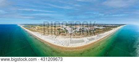 Aerial Panoramic View Of Manta Rota Beach, Which Is Part Of A Long Sweep Of Fine Sand That Arches Fr