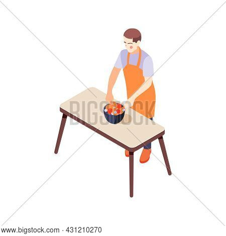 House Husband In Apron Cooking Salad 3d Isometric Icon Vector Illustration