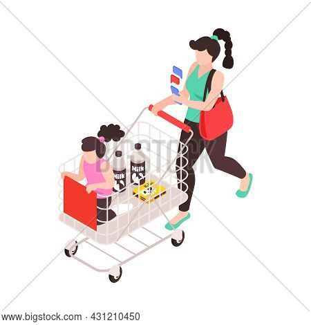 Super Mum Doing Shopping With Her Daughter While Answering Text Messages Isometric Icon Vector Illus
