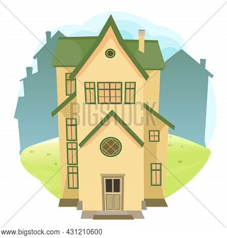 Cartoon House In The Meadow. City Silhouette. Beautiful View. Cozy Rustic Dwelling In A Traditional