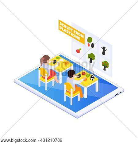 Home Online Education Icon With Children Sculpting From Plasticine 3d Vector Illustration