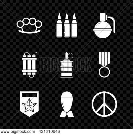 Set Brass Knuckles, Bullet, Hand Grenade, Chevron, Aviation Bomb, Peace, Detonate Dynamite Stick And