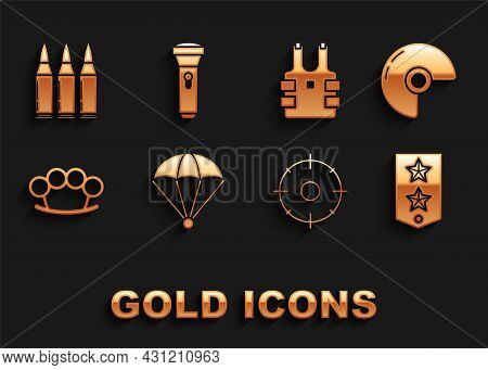 Set Parachute, Military Helmet, Chevron, Target Sport For Shooting Competition, Brass Knuckles, Bull