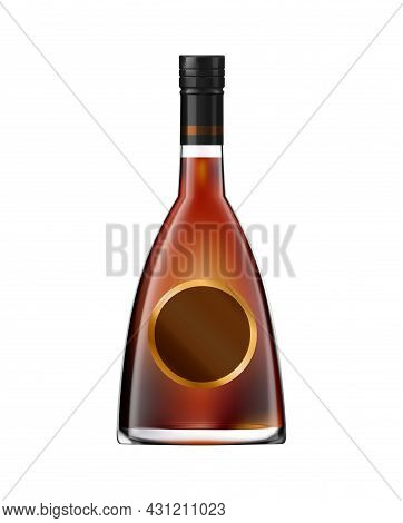 Glass Bottle Of Whisky Or Cognac With Screw Cap And Round Label Realistic Vector Illustration