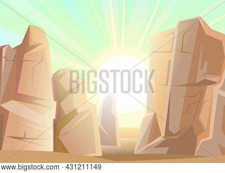 Stone Rocky Landscape. Deserted Place. Rocky Cliffs. Lights Of A Sun. Peaks Of The Mountains. Illust