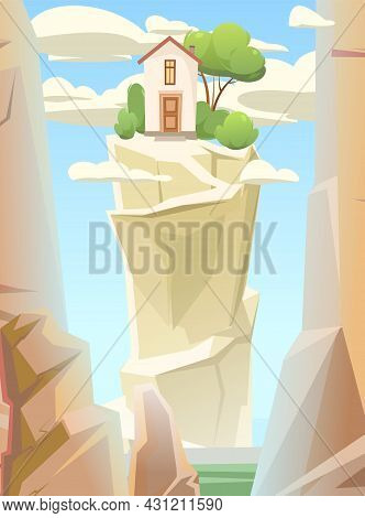 Mountain Gorge. With House On Top. Frame Composition. Stone Rocky Rocky Landscape. High Peaks And Cl