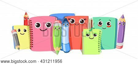 Books, Notebooks And Notepads. Pencils Markers. Horizontal Composition. Cheerful Cute Cartoon Charac