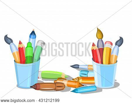 Stationery In Blue Glasses. Tools For Creativity And Drawing. Childrens Cartoon Style. Brushes And P